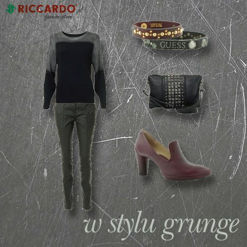 #Grunge style for fall: oversized sweater, metal punky jewelery, dark colors.