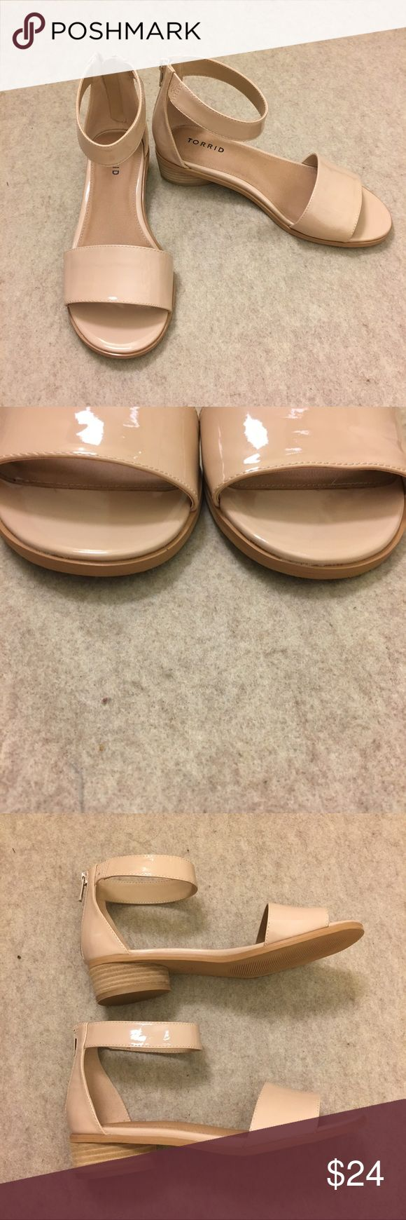 Torrid Patent Faux Leather Mini Heels Nude Beige 9 Torrid Patent Faux Leather Mini Heels Women's Nude Beige Size 9 Wide Zip Up Ankle Strap  Gently used, light signs of wear from normal use. Please see all photos. torrid Shoes Heels
