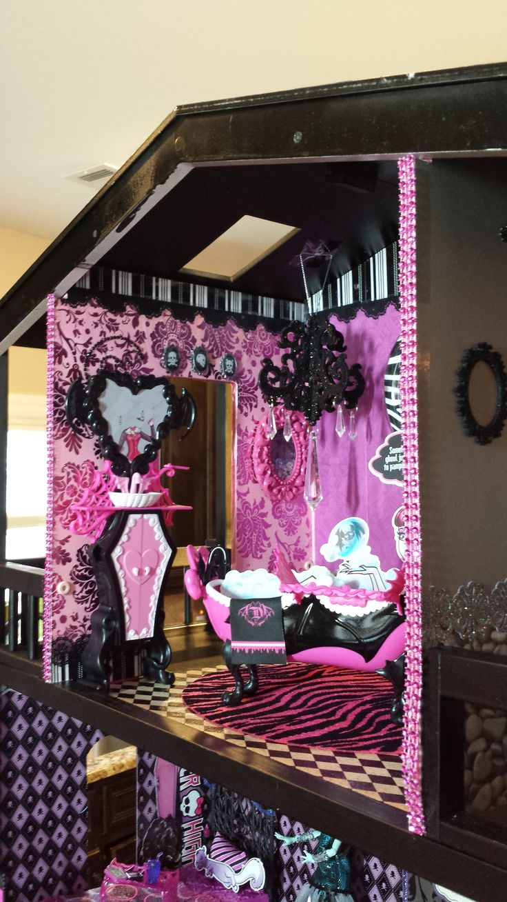 OOAK Monster High Dollhouse Draculaura Penthouse Suite - Left view - accessories include custom chandeliers and gemstone trims.