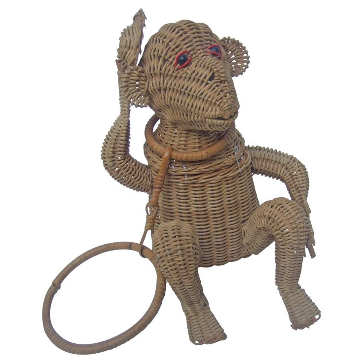 Whimsical Wicker Monkey Novelty Handbag ca 1960    From a collection of rare vintage novelty bags at https://www.1stdibs.com/fashion/handbags-purses-bags/novelty-bags/