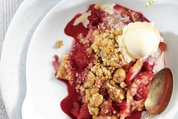 Nothing beats a home-style raspberry pear crumble at the end of a Sunday meal. Serve warm with a dollop of fresh whipped cream or ice cream. Ryan Brook.