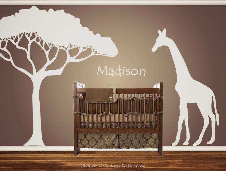 Personalized Custom Giraffe Animal Nursery Wall Decal Crib Name Baby Shower gift Idea Present African Safari Nursery Theme Looking crib. $45.00, via Etsy.