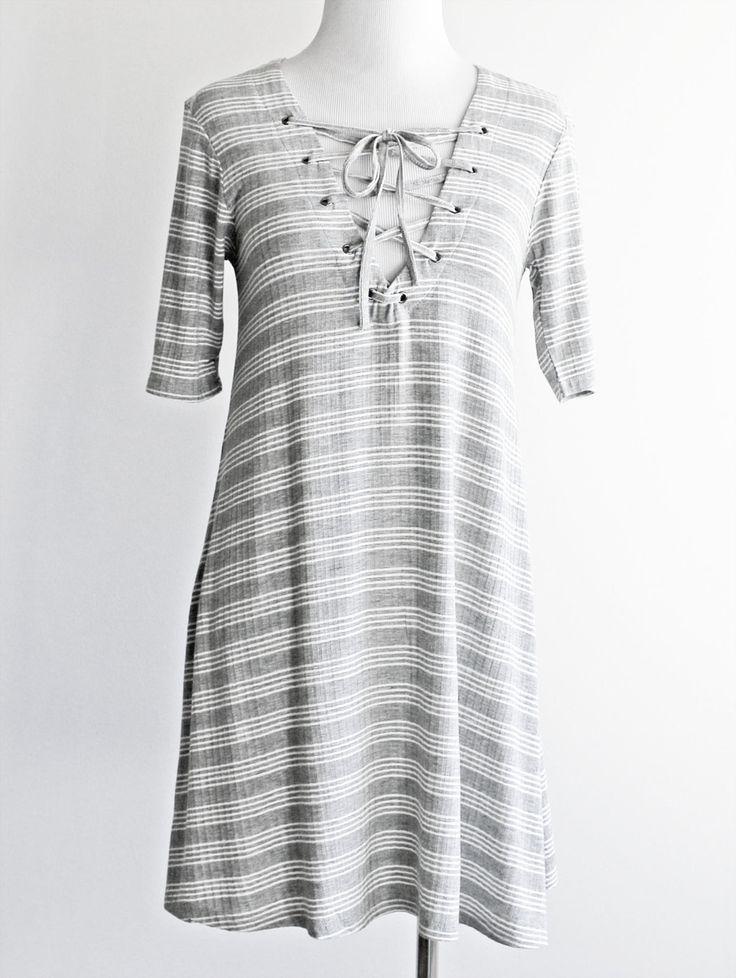 Tautmun - WAIMEA STRIPED DRESS - HEATHER GREY, $24.99 (http://www.tautmun.com/waimea-striped-dress-heather-grey/)