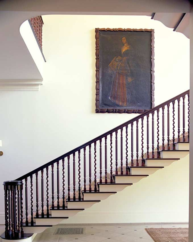 Best Kerry Joyce Designed The Mahogany Banister And Installed A Limestone Tile Floor In The Stairwell 400 x 300