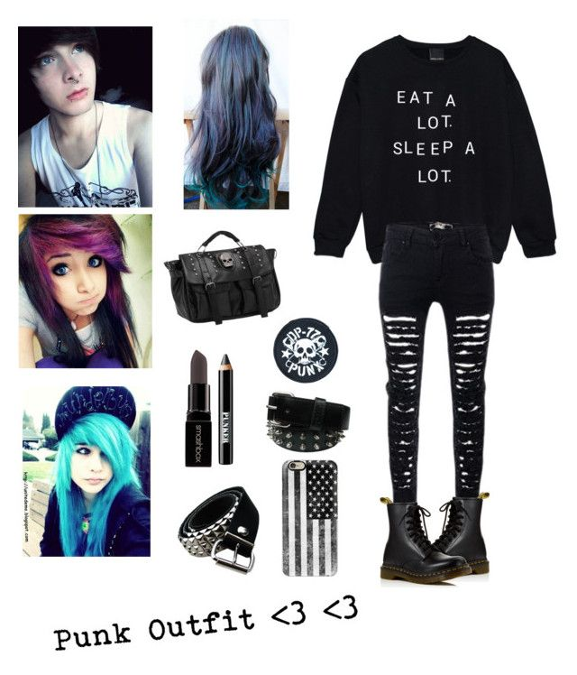 """""""Emo-Punk Outfit"""" by justkittyfanggyg ❤ liked on Polyvore featuring Dr. Martens, Casetify, Dogpile, Smashbox, Ardency Inn, outfit, emo, Punk, rock and poppunk"""