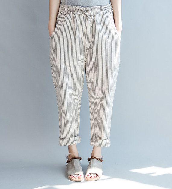 women cotton pants/women comfortable pants/women leisure pants/women loose pants/