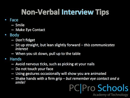Non Verbal Interview Tips