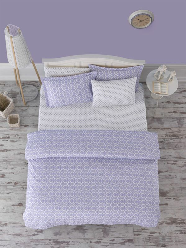 Damasse Purple Fitted Sheet