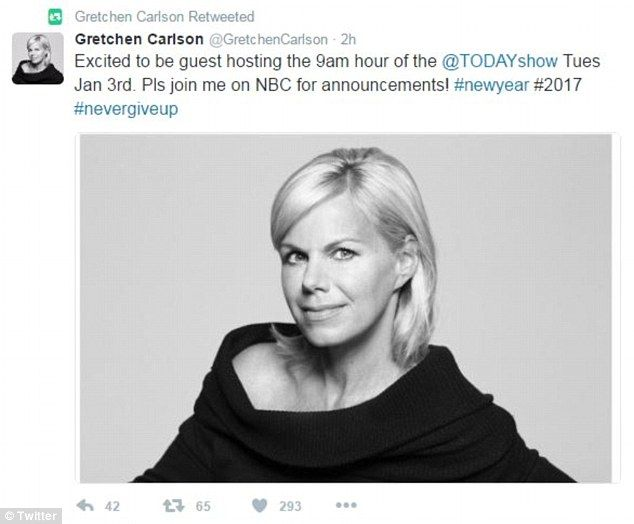 Former Fox News personality Gretchen Carlson tweeted (above) on Friday that she will guest...