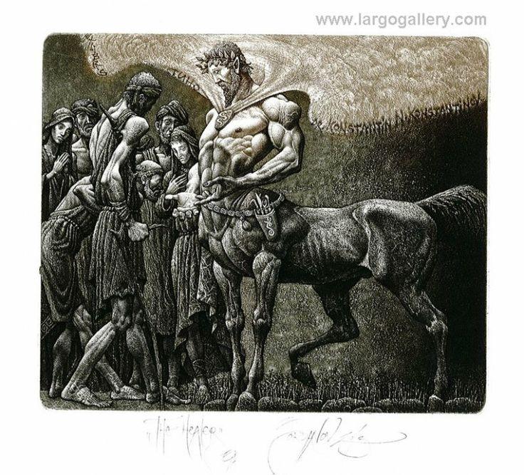 """http://www.largogallery.com/ Julian Jordanov, """"The Healer"""", paper, etching, 10/13"""