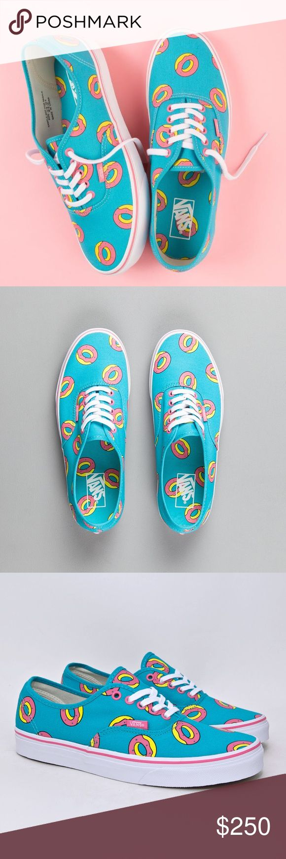 Odd Future x Vans OF Donut Shoes - Scuba Donut Limited Edition Odd Future x Vans skate shoe featuring signature Golf Wang pink donut print on a bright Scuba Blue colorway. Low profile Authentic style with pink foxing stripe, white side-stripe, and lightly cushioned printed liner. Vans logo in pink at cloth upper tag and at heel.  New. Box is missing the lid. Never worn. Ultra rare. Size 6.5 men / 8 women odd future Shoes Sneakers