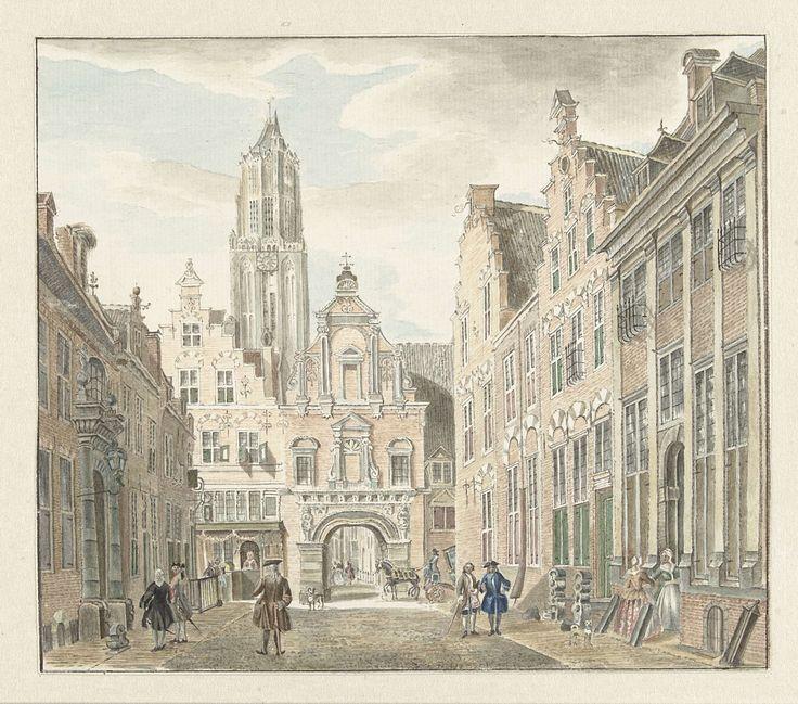 Nieuwstraat in Utrecht met gezicht op de Domtoren, Johanna de Bruyn, Jan de Beijer, 1753