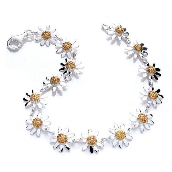 DAISY LONDON Womens Silver Vintage Daisy 14 Daisy Bracelet found on Polyvore
