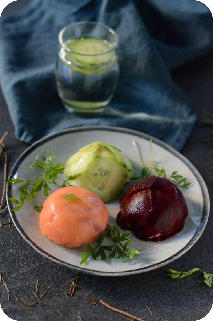 Salted Trio, Salmon, Beet and Cucumber Domes - Trio Salés, Dôme de Saumon, Dôme de Betterave et Dôme de Concombre - Paprikas