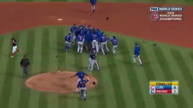 Here is the Final Play of the 2016 World Series! Where the Cubs Win it all! Fly the W!