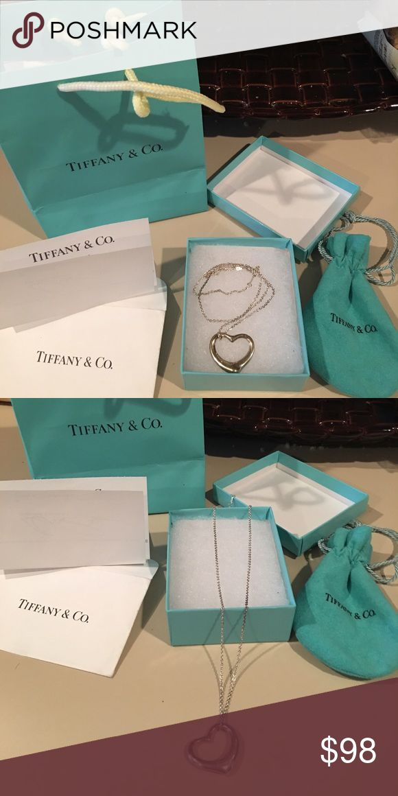 Tiffany &Co. medium all silver heart necklace Tiffany &Co. medium all silver heart necklace. Comes with pouch, box and bag. Good condition, could use polishing ❤️ Tiffany & Co. Accessories