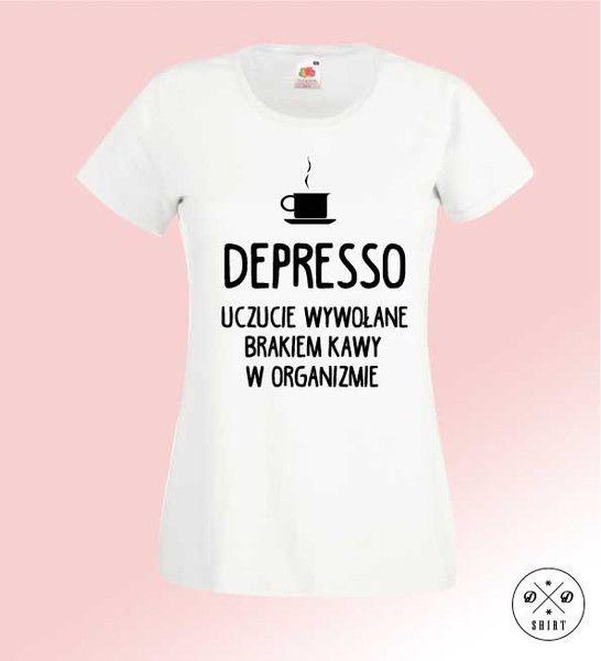 Depresso+PL,+Damska+koszulka+z+nadrukiem+w+DDshirt+na+DaWanda.com