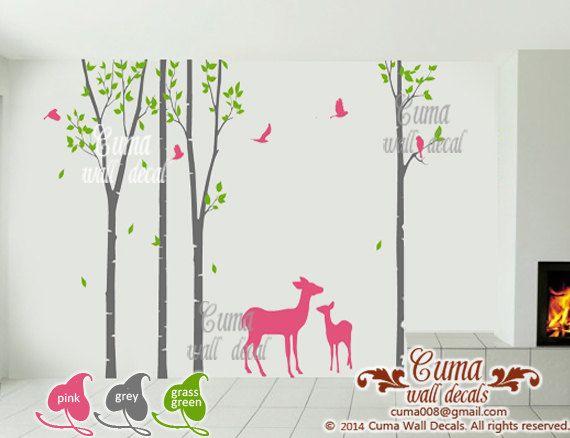 birch tree wall decals deer wall decals Nursery vinyl wall by cuma