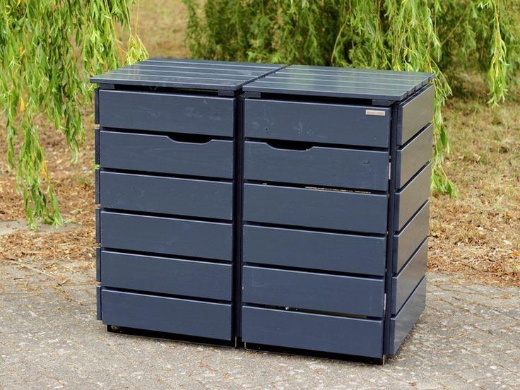 2er Mülltonnenbox Holz 240 Liter Mülltonnenbox holz