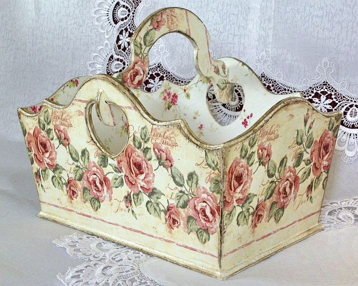 shabby rose basket
