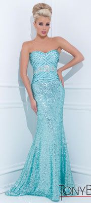 Tony Bowls 2014 Prom Dresses - Blue Sequin Beaded Geometric Strapless Sweetheart Long Gown