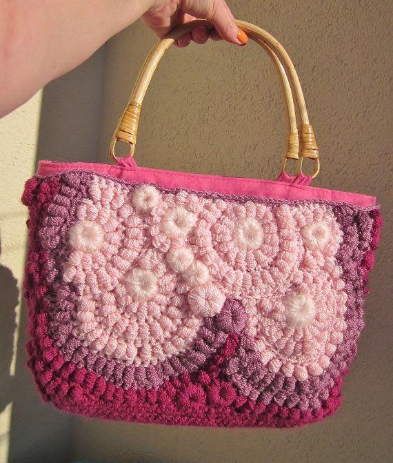 Hard candy a medium freeform crochet  bag by handmadestreet101