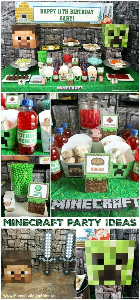 Minecraft Birthday Party Ideas - links to FREE Minecraft printables, Minecraft food ideas, Minecraft party supplies and more!