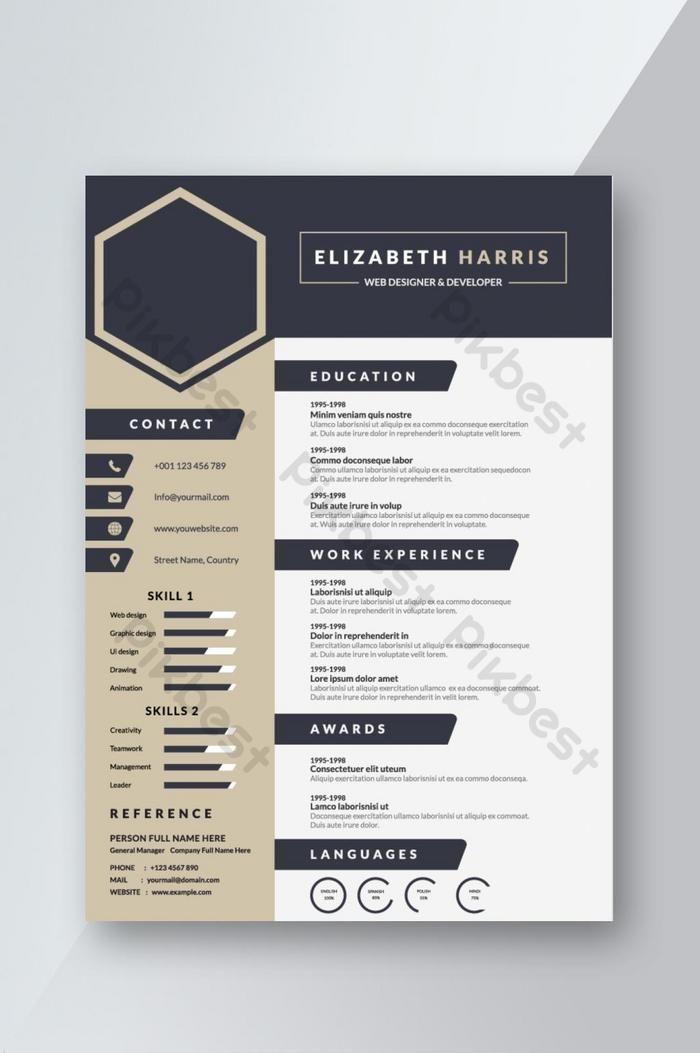 海軍藍色創意簡歷簡歷模板設計面試 Doc Word素材免費下載 Pikbest Cv Design Template Free Cv Design Template Creative Resume