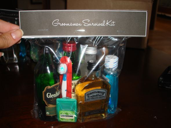 GROOMSMEN 4 Mini bottles of alcohol  Listerine strips  Colgate Wisps (mini toothbrushes)  Mouthwash  Cigar in a separate bag
