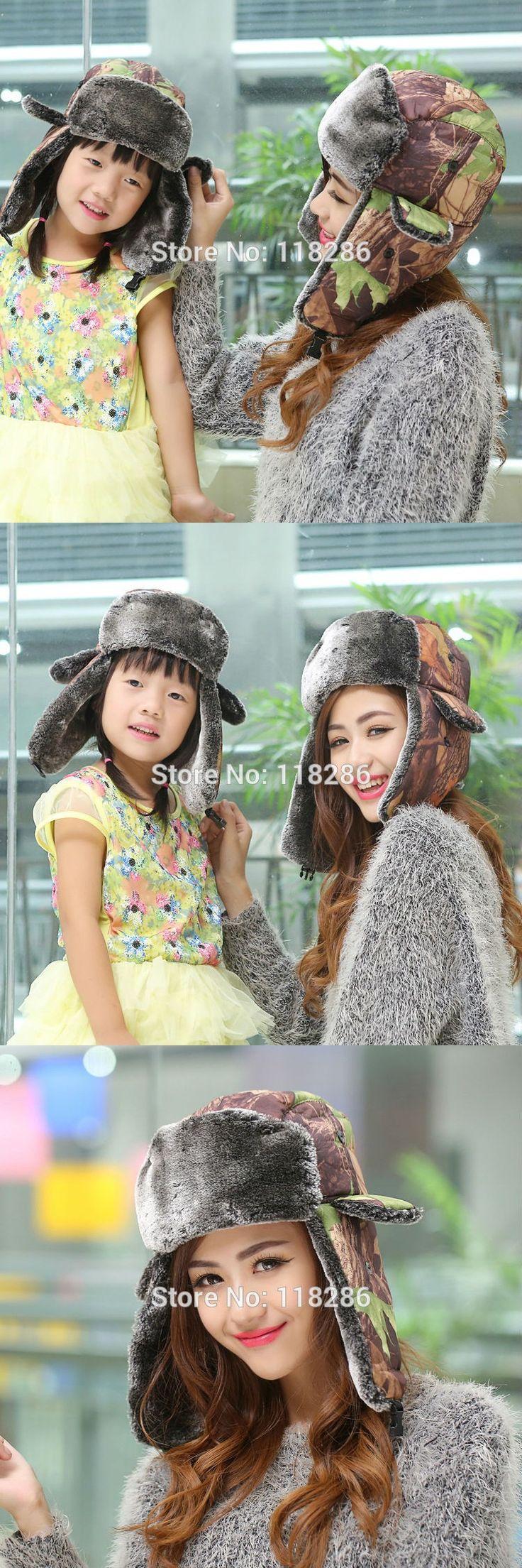 Fashion Camo Winter Earflap Hat Outdoor Thicken Women Men Bomber Hat Faux Fur Camouflage Russian Winter Hat $10.79