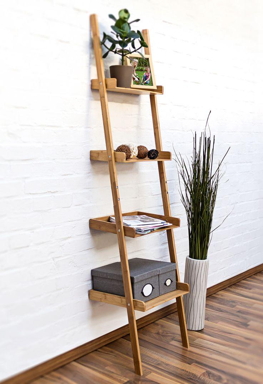 Dieses Dekorative Bücherregal Aus Bambus Und In Form Einer Leiter Hilft  Ihnen Ihr Zuhause Ordentlich Zu