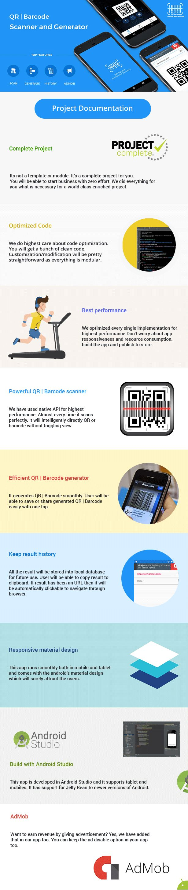 QR code and Barcode scanner and generator for Android with AdMob (Full Applications)