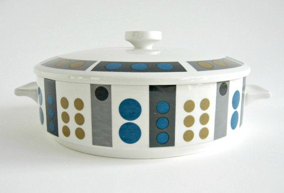 Modernist Midwinter Tempo Covered Vegetable Dish / Serving Bowl / Casserole / Geometric Op Art Design / Mid Century Modern. $75.00, via Etsy.