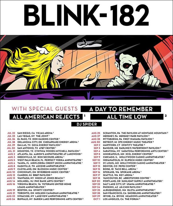 BLINK 182 Official Tour Flyer for their 2016 Concert Tour.