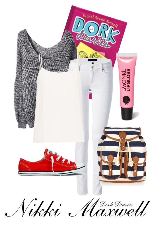 """Nikki Maxwell--Dork Diaries"" by twixryleigh ❤ liked on Polyvore featuring Juicy Couture, Equipment, Converse, Monsoon and Monki"