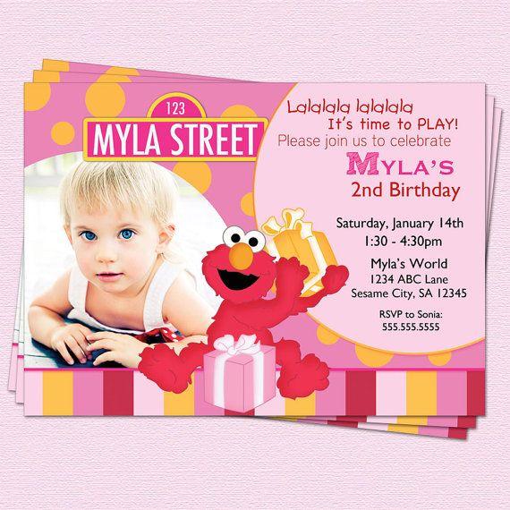 Elmo Invitation Sesame Street Pink Birthday Printable Party on Etsy, $14.00