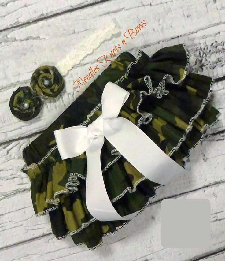 Girls Camouflage Ruffled Bloomers, Baby Girls Camo Bloomers, Military Leave, Coming Home Outfit
