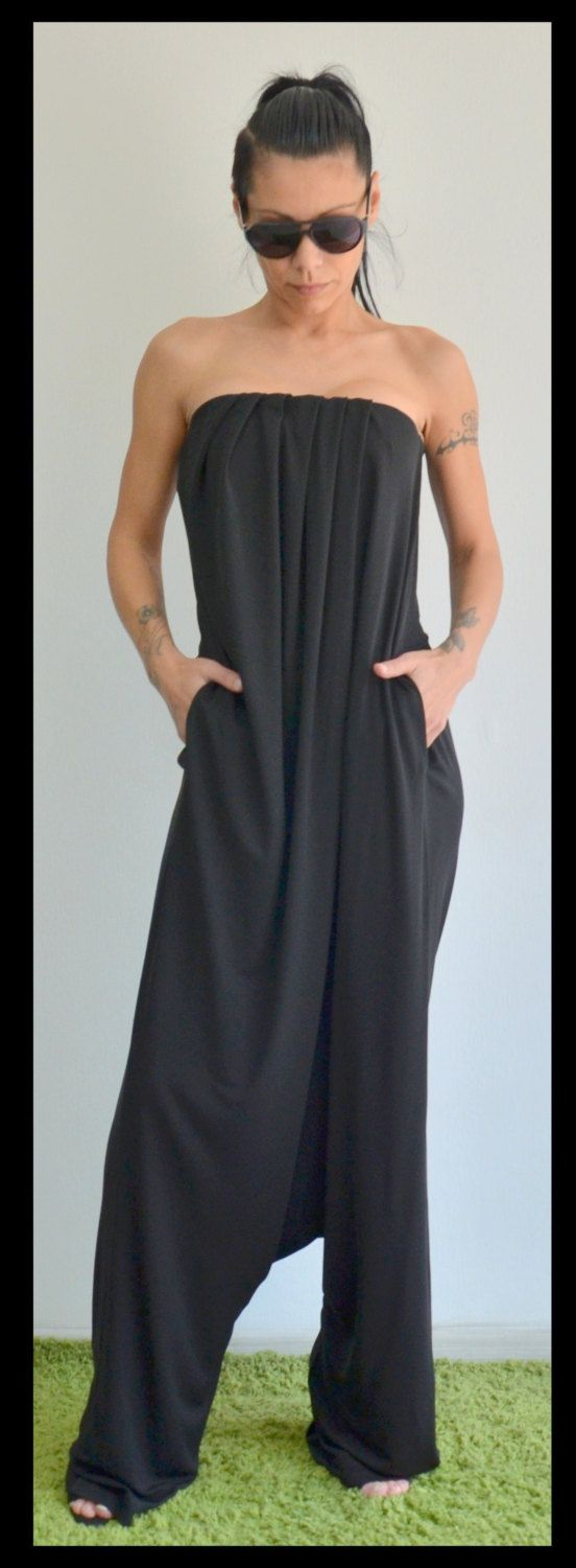 feminine loose jumpsuit/ Party bustier jumper/Loose woman romper/Maxi elegant jumpsuit by ClothesByLockerRoom on Etsy