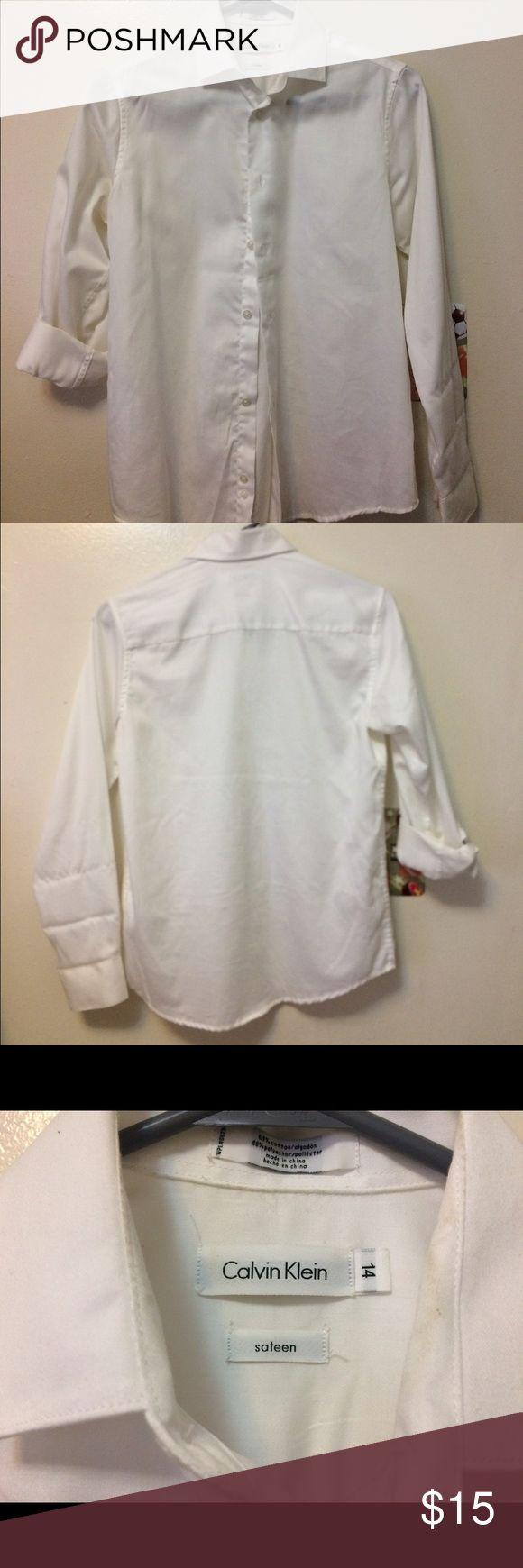 Boys' Plain White Shirt Size 14, 60% Cotton, 40% Polyester, Calvin Klein Shirts & Tops Button Down Shirts