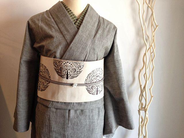【利休白茶】デニム着物-禅zen-紬のような上質、デニムとは思えないしなやかさ(送料無料 )