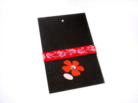 Gift Paper Card Tag  Red/Black  Red Flower Gift Tag  by ScrapCati, $6.50