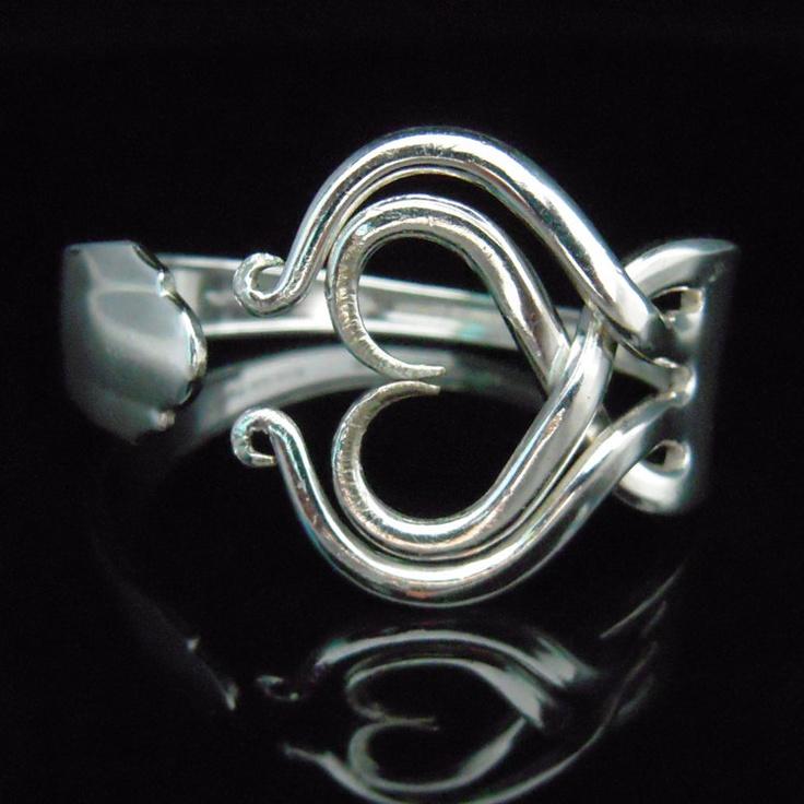 Recycled Silverware Jewelry. Silver Fork Bracelet in Original Heart Design