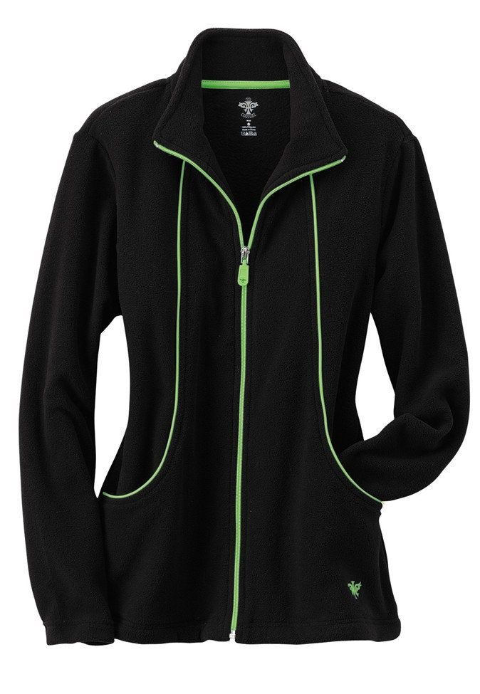 med couture by peaches fleece zip front scrub jacket