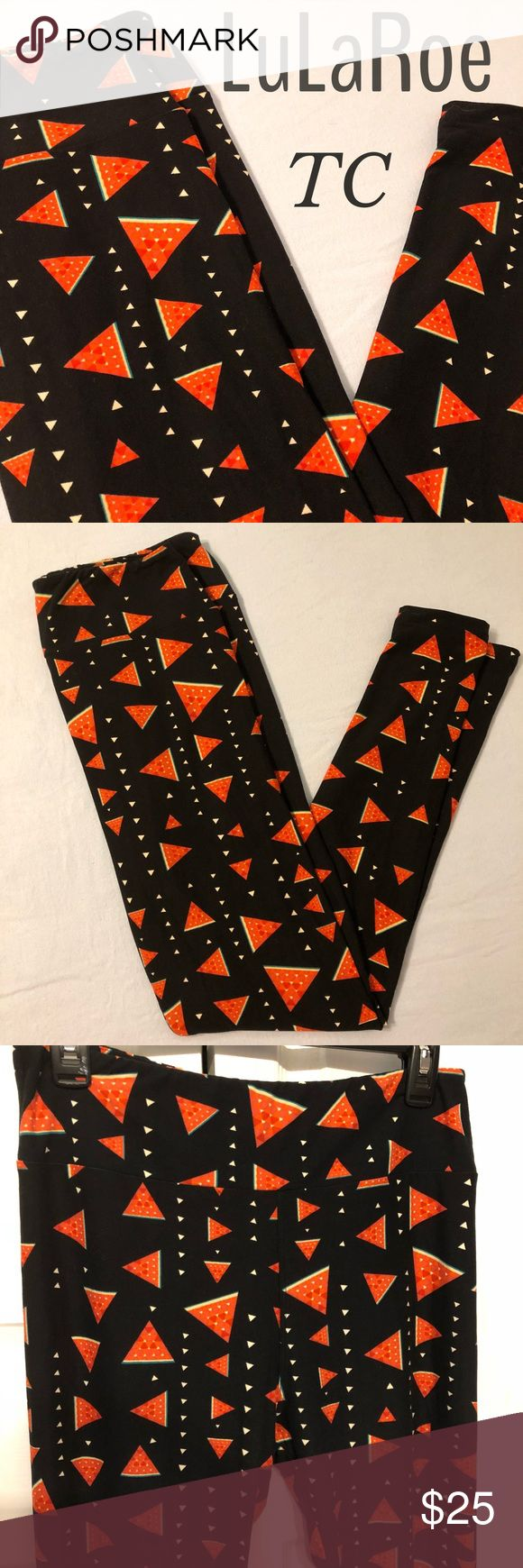 """NEW LuLaRoe TC Watermelon 🍉 Leggings New without tag (did not come with tag from consultant), but does have original plastic bag  LuLaRoe leggings size TC (tall/curvy)  """"Vintage"""" for LLR from early 2016   Made in China  Would match great with any of the Noir pieces with this black background!  Print of either watermelon or maybe pizza?  I am guessing watermelon 🍉   Super duper soft Wide yoga waistband  Stretchy material   Check out all pics for greater detail!  Would also look great for…"""