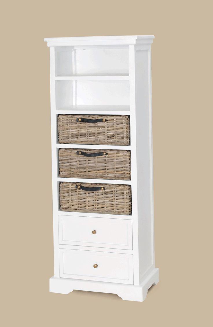 tall white wooden Bookcase with double racks and three brown rattan  storages also double drawers of Amazing Idea Of
