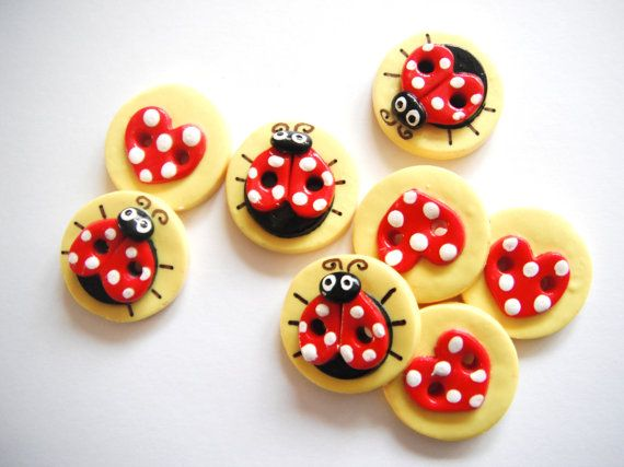 Button Ladybugs and Hearts handmade polymer clay by digitsdesigns