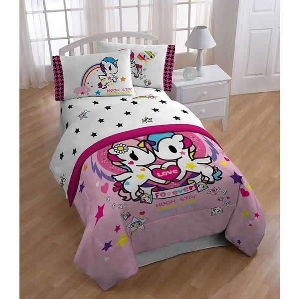 Tokidoki I Love Unicorns Twin Sheet Set ($38) ❤ liked on Polyvore featuring home, bed & bath, bedding, bed sheets, tokidoki, unicorn bedding, unicorn twin bedding, twin bed linens and twin sheet sets