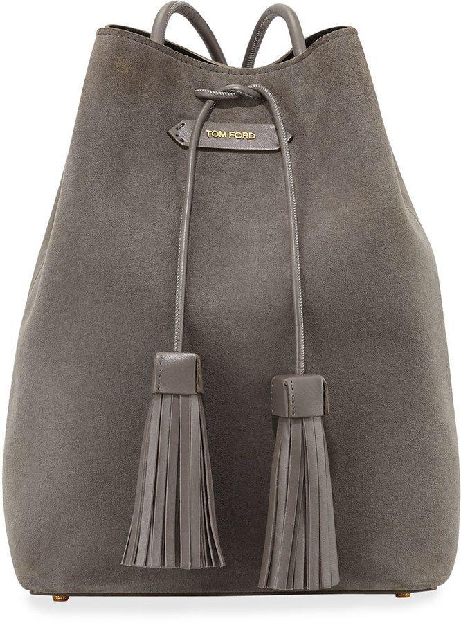TOM FORD Suede Double-Tassel Medium Bucket Bag, Dark Gray
