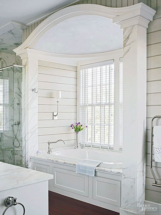 An affinity for the past and an eye for authenticity inspired this new master bath, which was designed to evoke the look of a Low Country plantation dating back 150 years.The tub alcove has a striking domed ceiling with a finish that resembles old plaste