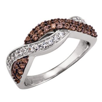 'Hot Chocolate' 10kt White Gold w/ .50ctw Chocolate & White Diamond Ring